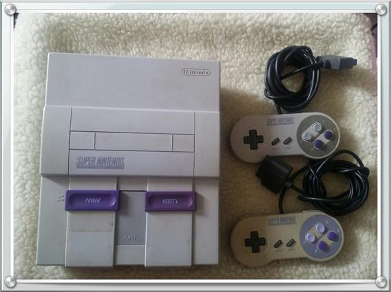 Console Super Nintendo Snes Completo + 2 Controles + 4 Jogos