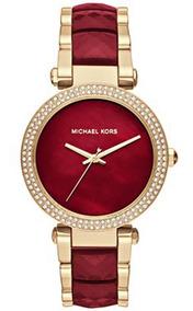 Relógio Michael Kors Mk6427 Parker Dourado Vermelho Original