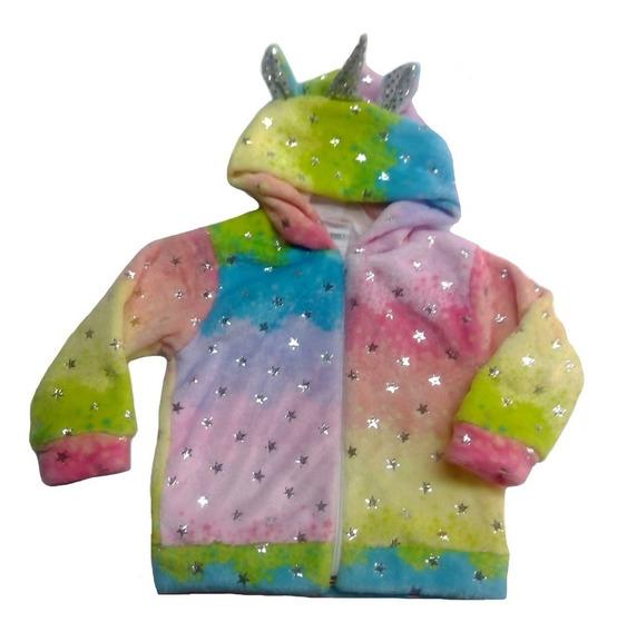 Chamarra Kiss Con Gorro Unicornio Estrellas