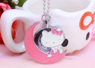 Hermosa Cadena Collar Mujer Dije Reloj Hello Kitty Exclusiva