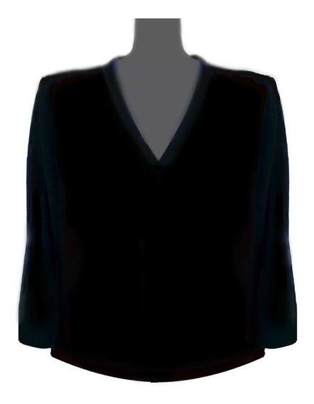 Sweater Escote V Liso Negro Lana Merino Talles Grandes