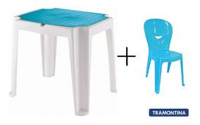 Mesa E Cadeira Infantil Tramontina Versa E Vice Azul Cabo