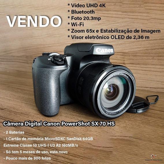 Câmera Canon Sx 70 Hs - 4k 65x De Zoom Wi-fi - Novinha