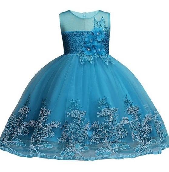 Vestido Infantil Juvenil Bordado Florista Azul Tiffany