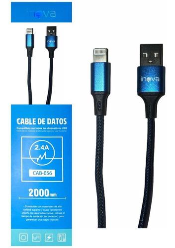 Cable Cargador Para iPhone Lightning Inova 2 Metros