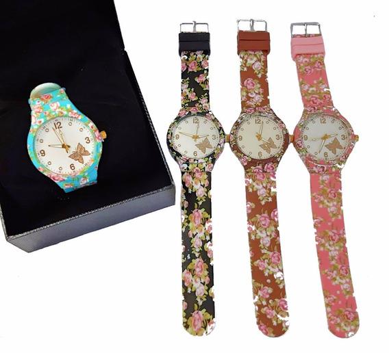 Relógio Fashion Florido Feminino Emborrachado Ginástica Luxo
