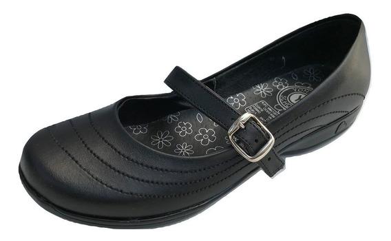 Zapato Escolar Colegial Yondeer 6210 Para Niña Piel Negro