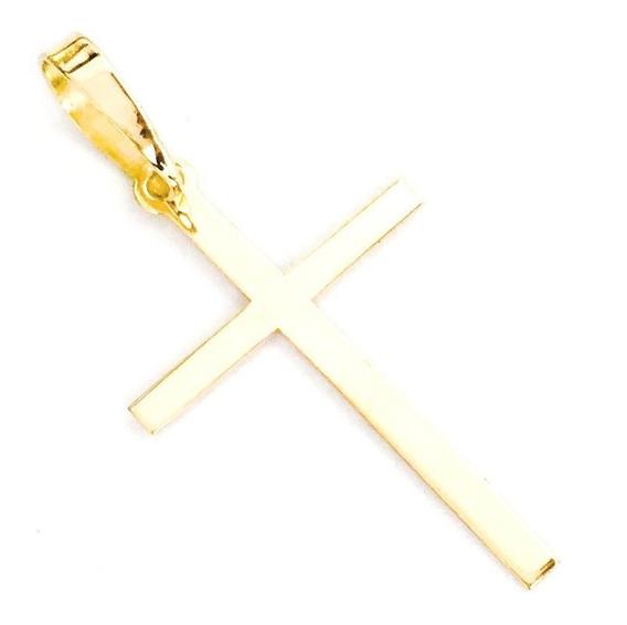 Pingente Cruz Crucifixo Em Ouro 18k Liso 19,20mmx12,00mm