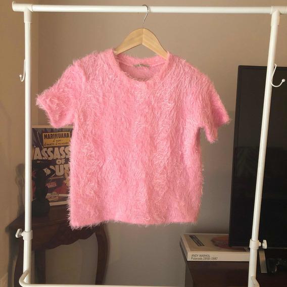 Sweater Pelo Manga Corta Marca Zara