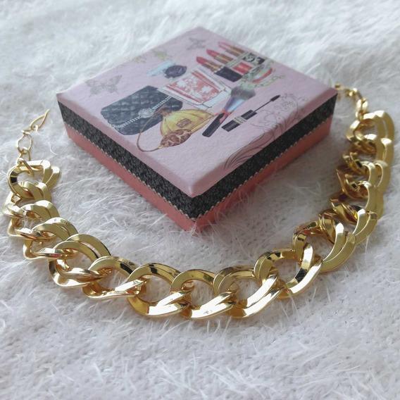 Pulseira Feminina Dourada Banhada A Ouro Bracelete Semi Joia