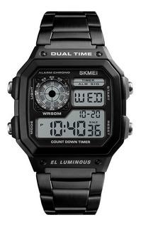 Reloj Hombre Skmei 1335 Acero Crono Timer Sumergible Gtia