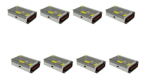 Kit Com 8 Fontes Colmeia 12v 10a Estabilidade Bivolt Cftv Le