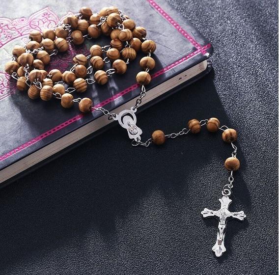 Rosario De Madera Colgante De La Virgen María Y Jesucristo