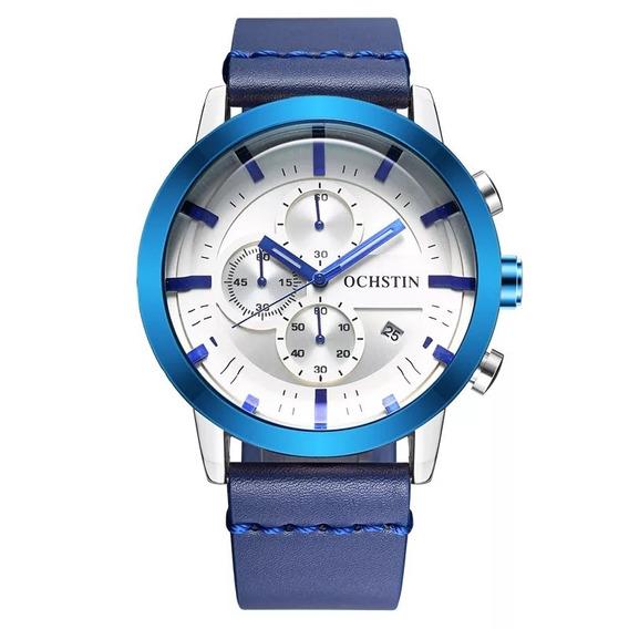 Relógio Masculino Ochstin Azul Pulseira Couro Promoção