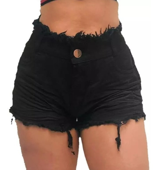 Promoção Short Jeans Bermuda Feminino Cintura Alta Panicat