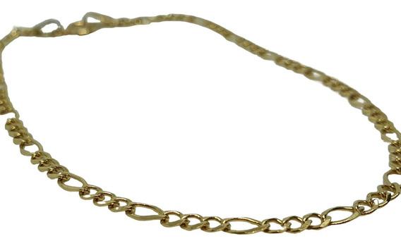 Pulsera Esclava Pulso Tejido Figaro Oro Amarillo 10k Estuche