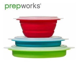 Bowls Prepworks Plegables Set De 3 Recipiente Microondas