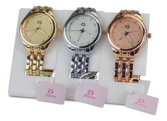 Kit 3 Relógio Feminino Original Dourado Prata Branco Top