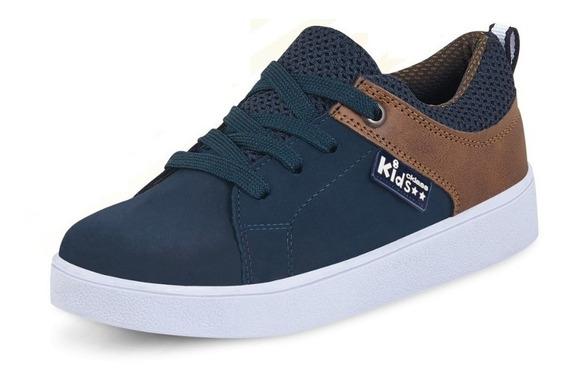 Tenis Sneakers Infantil Juvenil Adolescente Azul Cafe Comodo