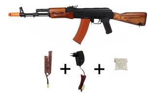 Ak47 Kalashnikov Madeira Rifle Fuzil Aeg Cm048 Full Metal V3