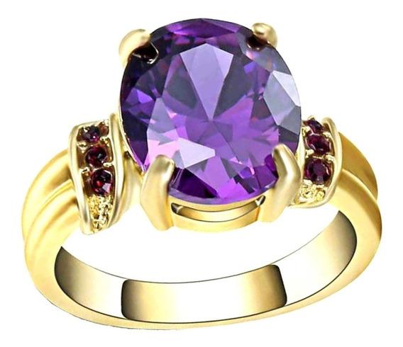 Anel Feminino Grand Pedra Cristal Ametista Roxa 642 P