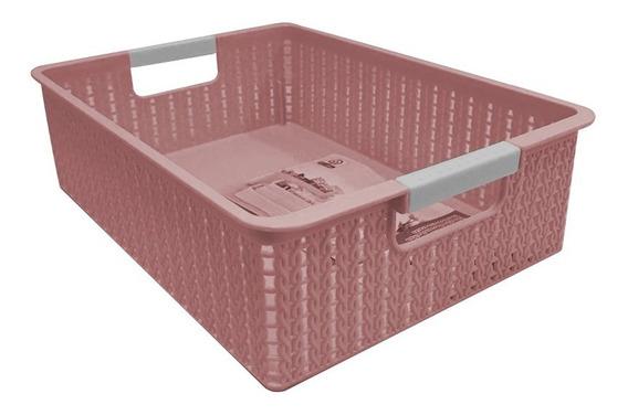 Canasto Organizador C/manija De Plástico 32 Cm