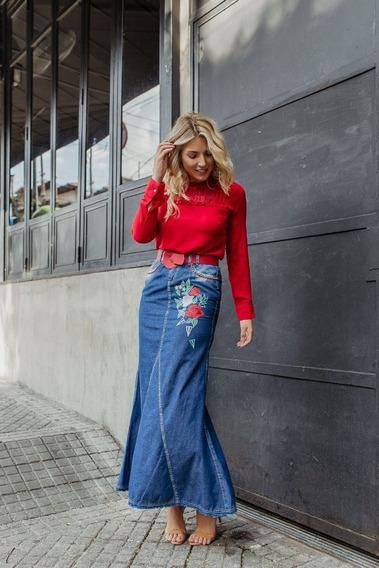 Saia Jeans Longa Bordada Joyaly A/c Cinto