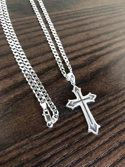 Corrente Masculina 70cm Com Crucifixo Luxo Prata 925 Maciço