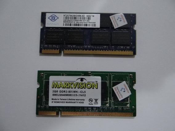 Kit Memória Ram 4gb Ddr2 (2x2gb) Notebook 800mhz Pc2-6400s