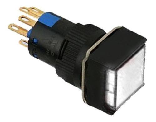 Botón Pulsador Iluminado 16mm Cuadrado 24v Blanco (26092)