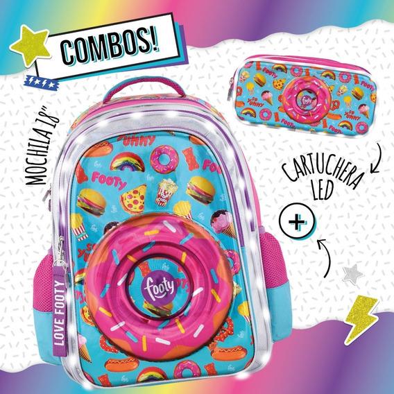 Combo Mochila Footy Luz Donuts 18 Espalda + Cartuchera 2cie