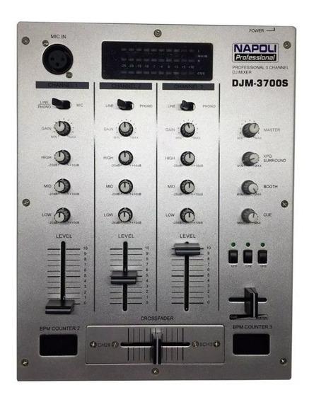 Controlador Mixer Profissional Dj Mixagem Napoli 3 Canais - Pronta Entrega