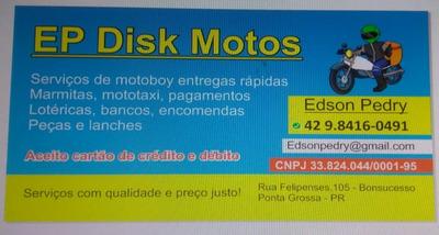 Motoboy Disponível Com Cnpj Aceito Cartões Crédito E Débito