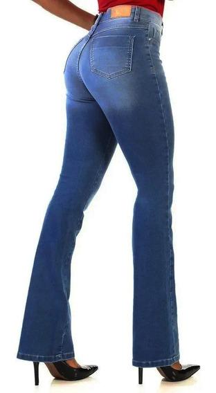 Calça Sawary Jeans Flare Original Com Elastano Cintura Alta