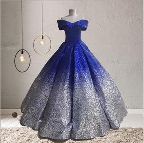 Vestido Xv Años Quinceaños 15 Años Nuevo Dorado Negro Azul