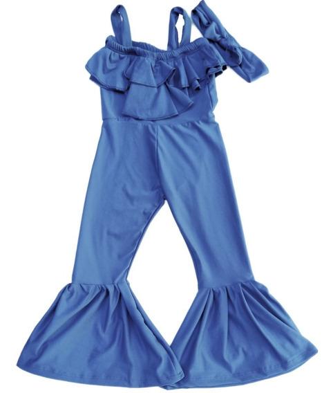 Macacão Longo Mini Diva Azul Com Calça Flare