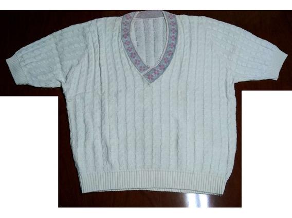 Sweater De Hilo Escote En V Beige Talle Xl