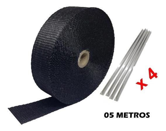 Manta Térmica Termotape Preta P/ Escapamento 05 Metros 4 Zip