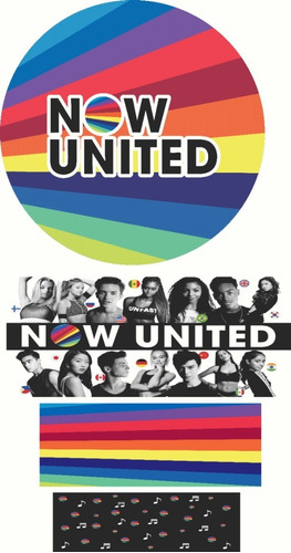 Kit Painel Redondo Now United + Faixas De Cilindros