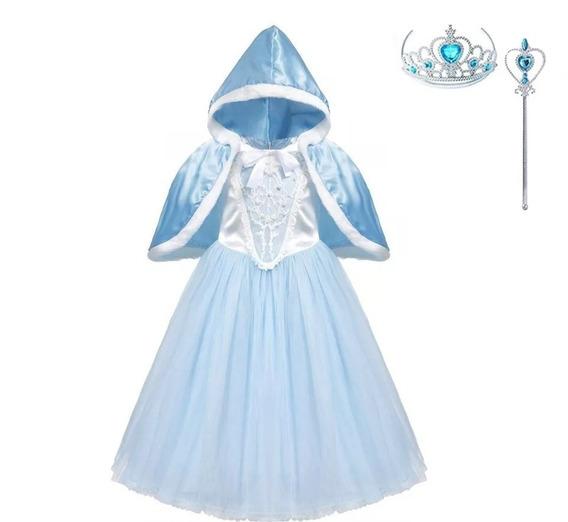Vestido Fantasia Infantil Cinderela + Capa + Acessórios