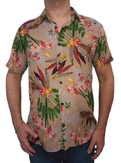 Camisa Botão Masculina Casual Confortável Havaiana + Brinde
