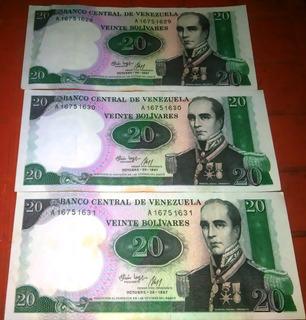 Billetes Bs20 Rafael Urdaneta 20/10/1987 Seriales Seguidos