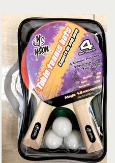 Raqueta De Pin Pon Juego 4?raquetas Malla Y 2 Pelotas Sy 30