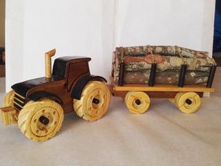 Juguete Artesanal Tractor Con Trailer De Carga De Madera