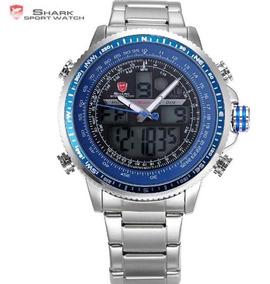 Relógio Masculino Shark Original Azul Pulso Lcd Digital Dual