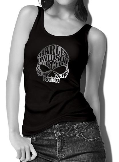 Harley Davidson Playera Sin Mangas Para Dama Mod Calavera