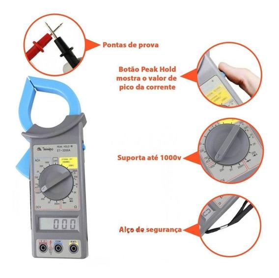 Alicate Amperímetro Digital Profissional - Et-3200a - Minipa