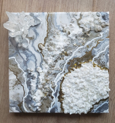 Cuadro Abstracto Hecho A Mano Resina Epoxi Cristales Cuarzo