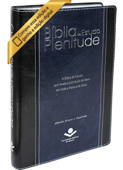 Bíblia De Estudo Plenitude Ra Cor Azul Editora Sbb Original