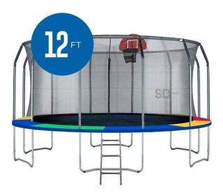 Cama Elástica Colores 12ft 3.66mt - Malla + Esc + Basket +